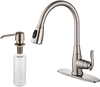 Kraus Kpf 2230 Ksd 30sn Single Lever Pull Out Kitchen Faucet And Soap Dispenser Satin Nickel Touch On Kitchen Sink Faucets Amazon Com