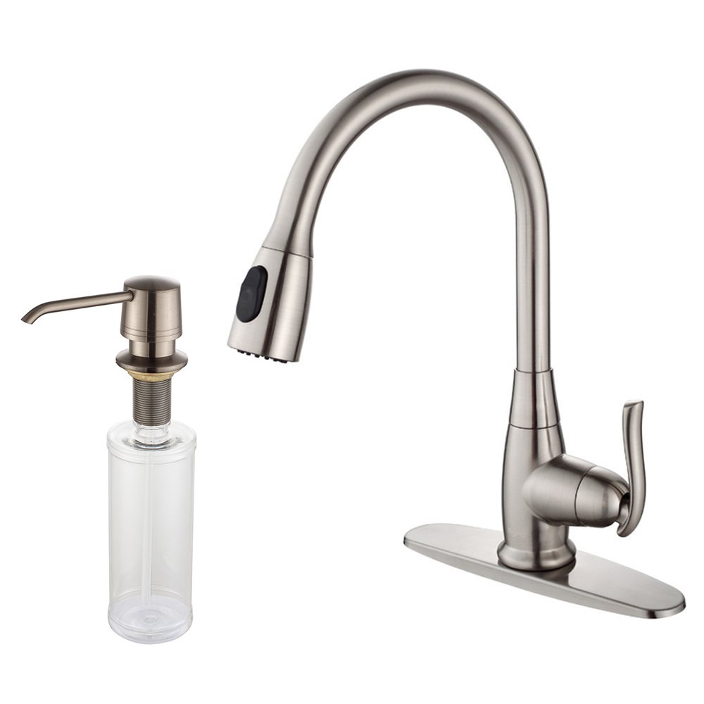 Kraus KPF-2230-KSD-30SN Single Lever Pull Out Kitchen Faucet and Soap Dispenser Satin Nickel: Amazon.es: Bricolaje y herramientas