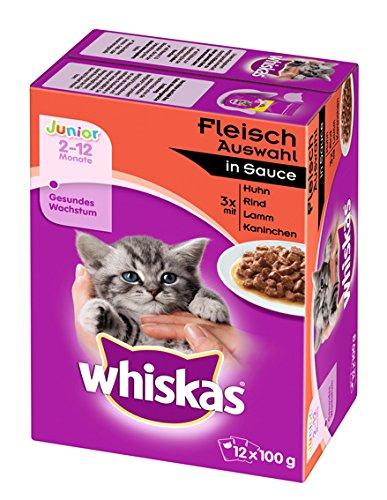 Whiskas Junior Katzenfutter Fleischauswahl in Sauce, 48 Beutel (4 x 12 x 100 g)