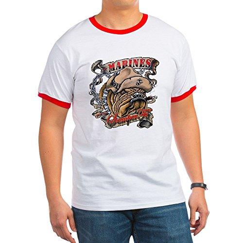 Royal Lion Ringer T-Shirt Marines Semper Fi Devil Dog Smoking - Red/White, Small