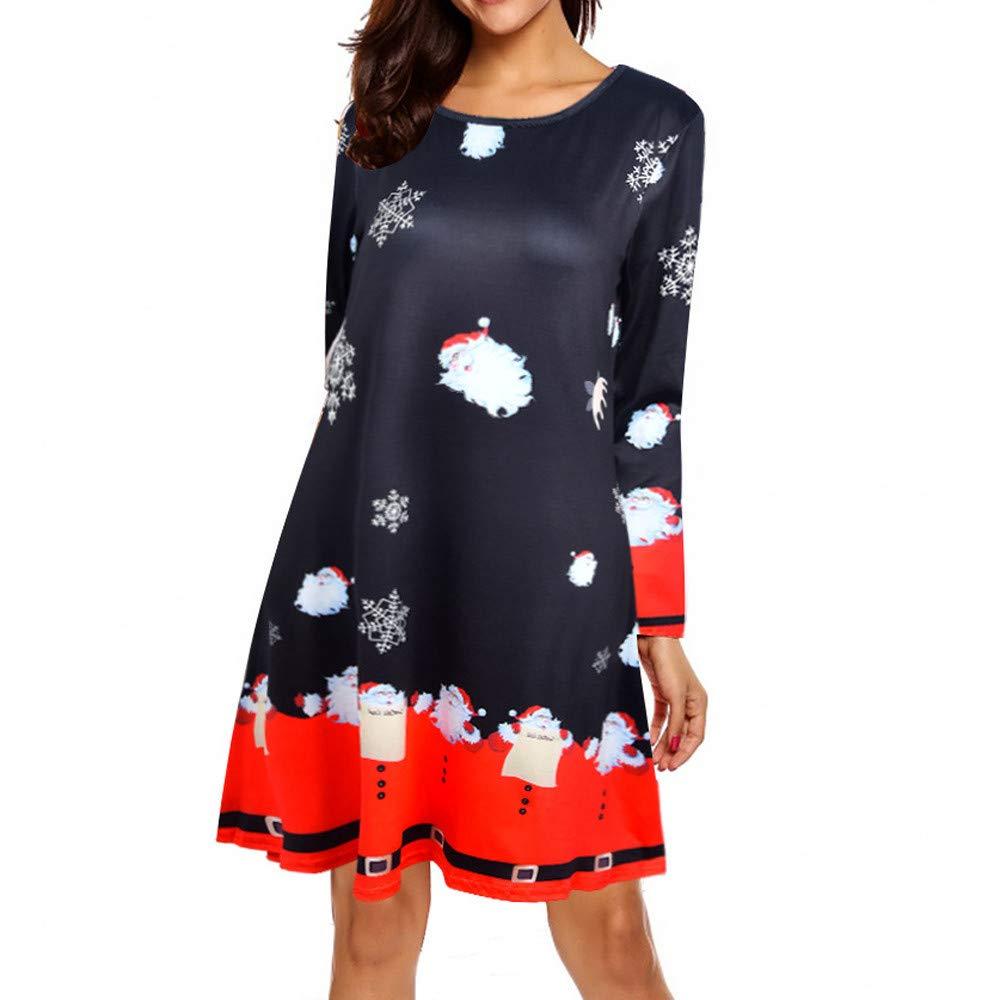 JURTEE Clearance Sale Fashion Women's Dress Ladies Xmas Christmas Dress Long Sleeve Santa Outfit Christmas Cozy Flared Above Knee Dress JURTEE-123
