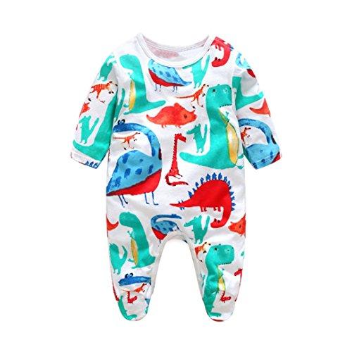 Dinosaur Sleepwear (iumei Unisex Baby Boy Girl One-Piece Cartoon Dinosaur Printing Long Sleeve Footed Overall (0-3 Months, Blue))