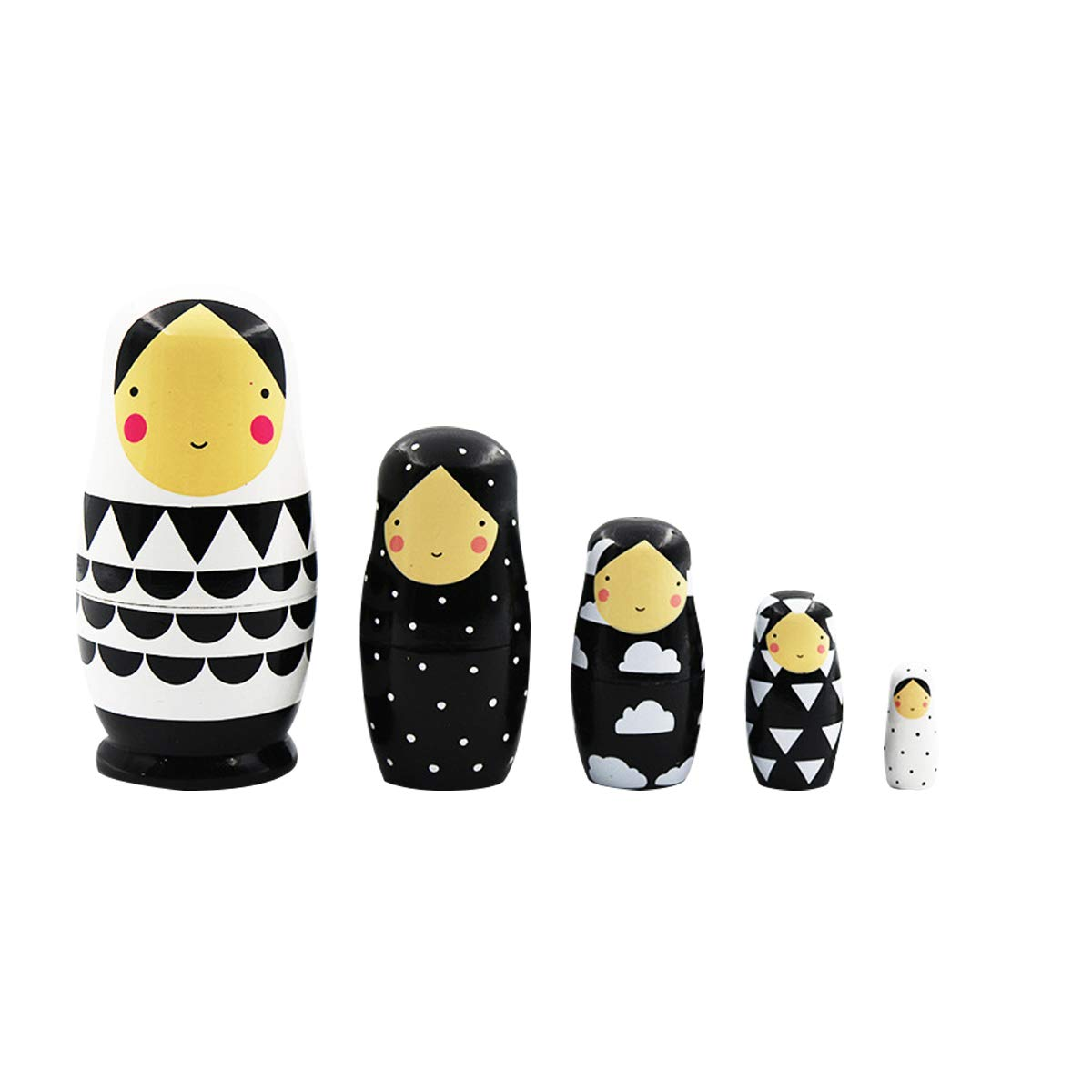Simple Black and White Dotted Wooden Nesting Dolls Matryoshka Russian Doll Stacking Toys Set of 5 Triangles Semicircles Clouds Pattern for Home Decoration Kids Gifts by Guifni