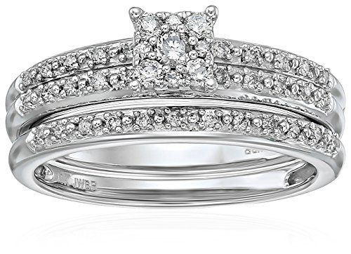 10K White Gold Diamond Cluster Wedding Ring Set (1/3 cttw, I color I3 clarity) Size 7 by Amazon Collection