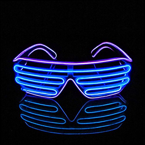 Essentials For A Nerd Costume (PINGGE US - Black Frame Colorful El Wire Neon LED Light Up Shutter Shaped Glasses for Rave Costume Party - Two Colors+ Standard Controller (Purple + Blue))