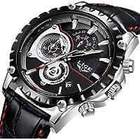 LIGE Watches Mens Leather Strap Waterproof Sport Analogue Quartz Watch Luxury Fashion Men Chronograph Date Calendar Black Wrist Watch