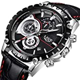 LIGE Watches Mens Sport Waterproof Analog Quartz Watch Top Brand LIGE Fashion Chronograph Date Calendar Dress Black Wrist Watch Causal Leather Strap