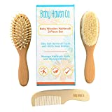 3 Piece Wooden Baby Brush and Comb Set for Newborns &...