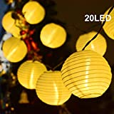 Binval Solar Lanterns String lights 20 LED Fabric Ball Fairy Christmas Lighting Decor, For Outdoor, Indoor, Garden, Patio, Bedroom Wedding Decorations (Warm White)