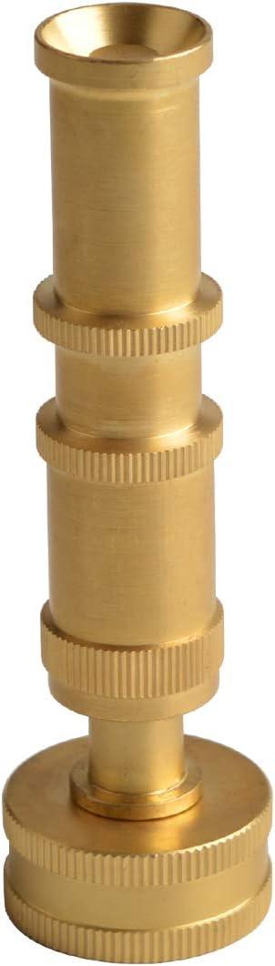 HYDRO MASTER Heavy Duty Brass Garden Hose Nozzle, Adjustable Twist Pressure Sprayer