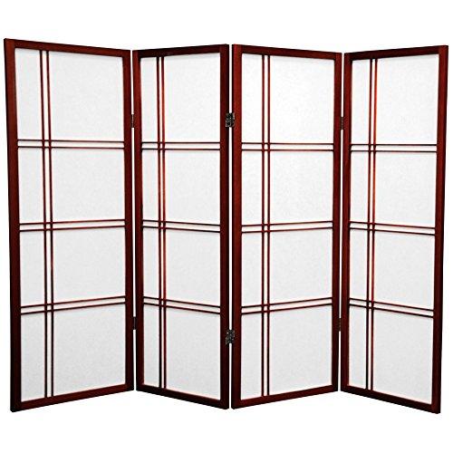Oriental Furniture 4 ft. Tall Double Cross Shoji Screen - Rosewood - 4 Panels