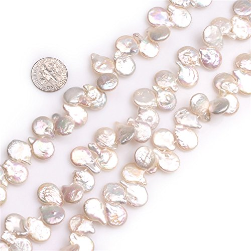 15x12mm Top Drilled White Coin Freshwater Cultured Pearls DIY Loose Beads for Jewelry -