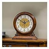 XHRHao Chimenea Reloj Luminoso de la función números árabes Dial Powered Relojes de Escritorio de Madera Retro Europeo del Reloj del Escritorio de Silencio Manto del Reloj, la batería (Color : B)