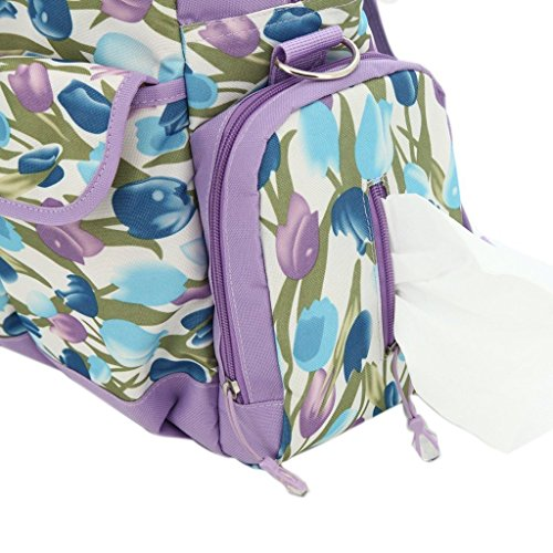LCY Bolso cambiador grande de 5 piezas, 3opciones de transporte Black with White Dots Purple Flowers
