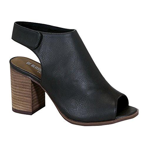 Ethleen-8 Women's Wood Chunky Peep-Toe Middle Heel Ankle Bootie Black 7