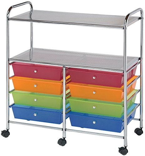 Blue Hills Studio SC8MCDW-12-S Storage Cart 8-Drawer (Wide) with 2-Shelf Multi-Colored (Pack of 1) by Blue Hills Studio (Image #1)