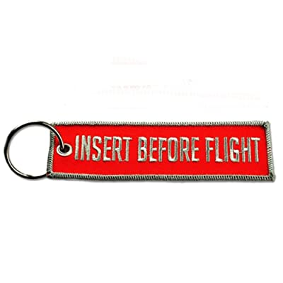 BASTION Insert Before Flight Fabric Key Chain Aviation TAG RED and Gray New: Automotive