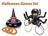 4E's Novelty Halloween Inflatable Ring Toss Party Game set, 1 Inflatable Witch Hat Ring Toss Game, with 1 Inflatable Black Spider Ring Toss Fun Creepy Spooky Game