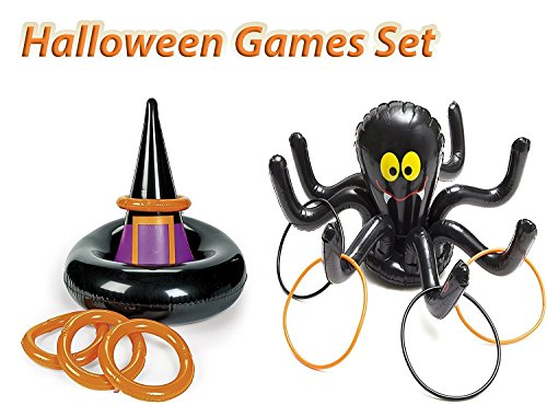 Halloween Inflatable Ring Toss Party Game set, 1 Inflatable Witch Hat Ring Toss Game, with 1 Inflatable Black Spider Ring Toss Fun Creepy Spooky Game, By 4E's (Halloween Ring Toss)