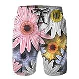 YUnMM Flower Mans Drawstring Waist Beach Walk Shorts
