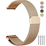 Vetoo 20mm Quick Release Watch Bands, Milanese Magnetic Closure Stainless Steel Wristbands Replacement Strap Bracelet Strap for Men's Women's Watch Large Small Rose Gold