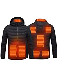 Electric Heated Jackets Vest Down Cotton Outdoor Coat USB Electric Heating Hooded Winter Thermal Warmer Jackets Winter Outdoor,Black-XL