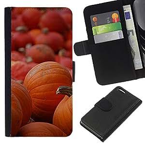 EJOY---La carpeta del tirón la caja de cuero de alta calidad de la PU Caso protector / Apple Iphone 5C / --De Halloween Naranja Otoño de vacaciones