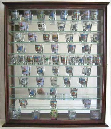 110 Souvenir Shot Glass Shooter Display Case Holder Cabinet Wall Rack, (SC09-MA)