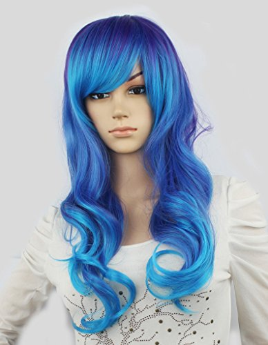 [WY Blue Sky 24inch Purple Blue Mixed Two Tone Punk Ombre Long Natural Curly Wave Layered Medium Synthetic Cosplay Wig for Women with Side Swept Bangs Fringe Fashion + Free Wig] (Blue Wigs For Women)