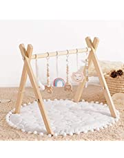 HAN-MM Wooden Baby Gym with 3 Wooden Baby Teething Toys Foldable Baby Play Gym Frame Activity Gym Hanging Bar Newborn Gift Baby Girl and Boy Gym