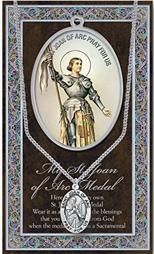 (51 7/18) SAINT JOAN of ARC Pewter Medal Stainless Steel Chain. Silver Embossed Pamphlet w Copyrighted Paul Herbert Blessing PATRONA Series -