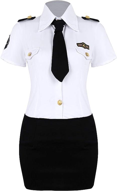 iixpin Disfraz Policía Mujer Uniforme de Policia Camisa Blanca ...