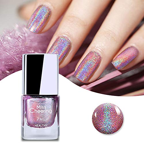 Ownest Holographic Nail Polish, Gorgeous Glossy Holographic Halo Glitter Gel Polish Nail Art Nail Pigment Diamond Laser Nail Polish -7ml