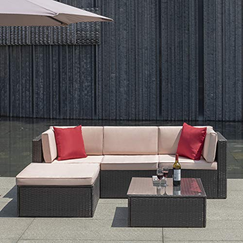 Flamaker 5 Pieces PE Rattan Sectional Sofa Outdoor Furniture Sectional Furniture Sets Mordern Bistro Set Wicker Patio Sofa Conversation Sets with Ottoman (5 Pieces-2)