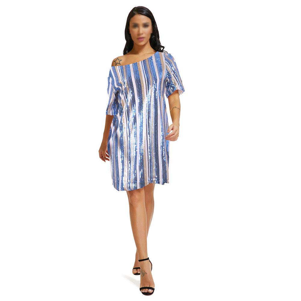 Fashion Women's Dresses,Multicolor Sequin ShortSleeved Dress Temperament Highend Loose Dress Leisure for Beautiful Evening Dress Ms Clothing,XL