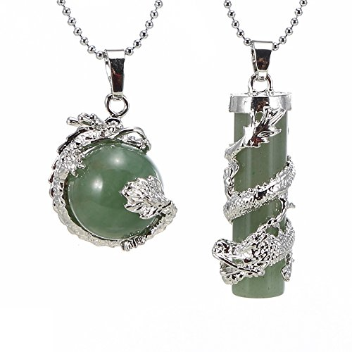 BRCbeads Gemstone Necklace Green Aveturine Dragon Wrapped Round Ball Cylinder Pendant Crystal Healping Point Reki Chakra Unisex Green Dragon Charm