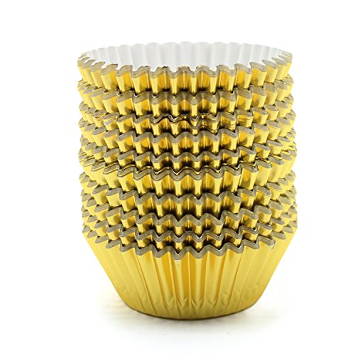 UNIQLED Pack of 200 Metallic Foil Paper Muffin Cupcake Liners Baking Cups Standard Size (Gold)
