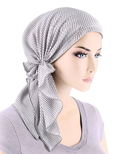 (The Bella Scarf Chemo Turban Head Scarves Pre-Tied Bandana for Cancer Plisse Silver Gray)