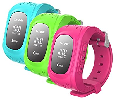 GPS Tracker Kids Smartwatch, GSM SOS Emergency Anti Lost Bracelet Wristband Safe Children Watch Activity Tracker Remote Monitor Baby Smart Watch for Android IOS