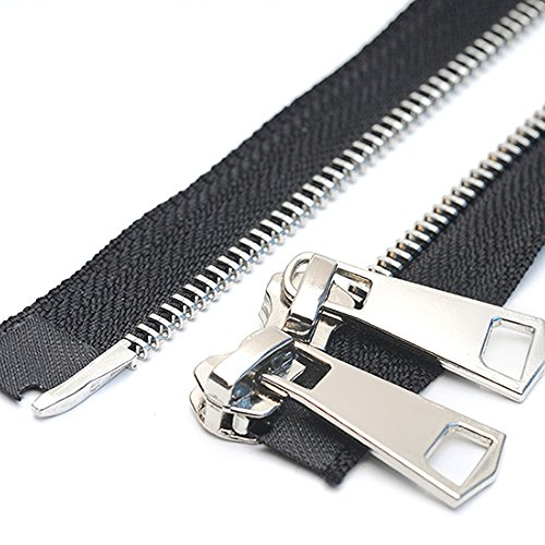 (YaHoGa #5 28 Inch Two Way Separating Jacket Zipper Silver Metal Zippers for Jackets Coats Sewing Crafts (28