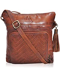 Sling Bags for Women Genuine-Leather - Small Multi Pocket Purse with Mobile Holder