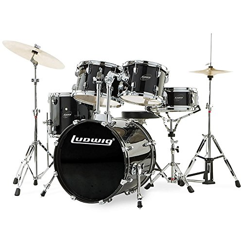 Ludwig Accent Drive Black 5-Piece Drum Set (Includes Hardware, Throne, Pedal, Cymbals, Sticks and Drum Key) by Ludwig
