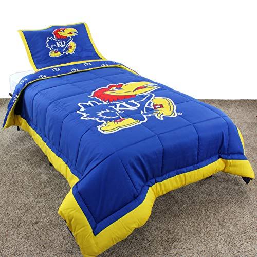 (MISC 3 Piece Blue Yellow NCAA Kansas Jayhawks Comforter Queen Set Basketball Theme Reversible Bedding Sports Patterned Team Logo Print Collegiate Athletic Team Fan Lightweight Soft & Comfy,)