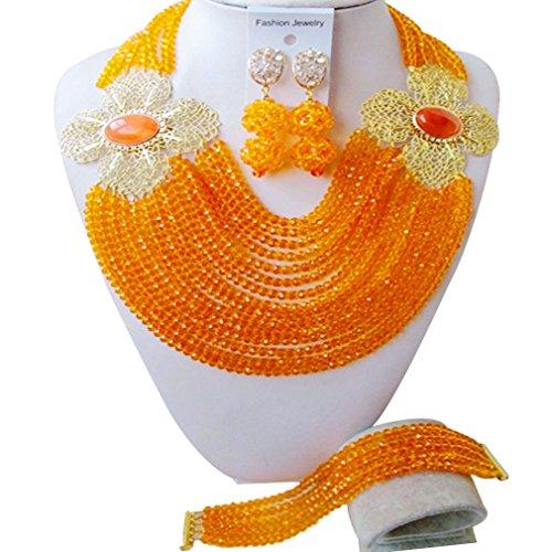 Orange Jade Necklace (aczuv African Fashion Beads Jewelry Set Necklace Nigerian Wedding Bridal Party Jewelry Sets (Orange))