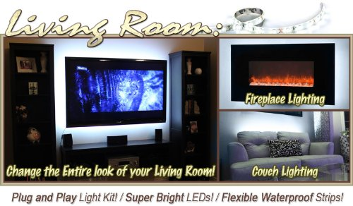 Biltek 2' ft Cool White Sofa Couch Back Light LED Backlight Accent Night Light On/Off Switch Control Kit - TV Couch Lighting Wall Units Fireplaces Floating Shelves Waterproof Flexible DIY 110V-220V