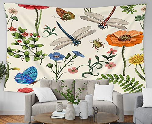 Pamime Easter Home Decor Tapestry for Summer Pattern Botanical Plants Insects Flowers in Vintage Wall Hanging Tapestries for Dorm Room Bedroom Living Room 60x60 Inches(150x150cm) Bedspread InHouse from Pamime