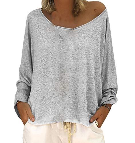 Jumper Blouse Shirts Donne Primavera Casual Manica Sciolto Bluse Moda T Grigio Autunno Lunga Maglie Collo Tops a Rotondo Maglioni Maglietta 6Uw6Bq