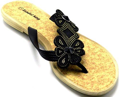 Tanga Bhoemia Para Mujer Verano Sweet Flower Beads Toe Post Flip Flop Shoes Sandalias Planas Negras A