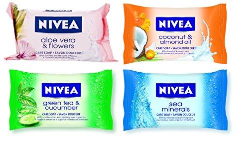 Nivea: Set of 4 Care Soaps (Aloe Vera, Coconut, Cucumber, Sea Minerals) * 3.17 Ounce (90gr) Soap (Pack of 1 Each) * [ Italian Import ]
