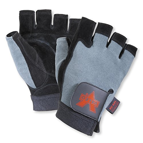 Valeo Split-Leather Fingerless Anti-Vibe Gloves (Black, Medium) (Used Wrap Machine Stretch)